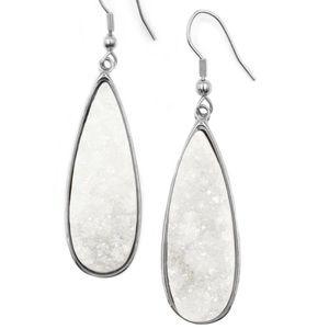 Silver Quartz Drop Earrings